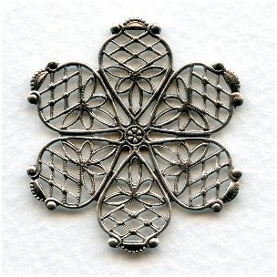 ^Filigree Flower Oxidized Silver 35mm (1)