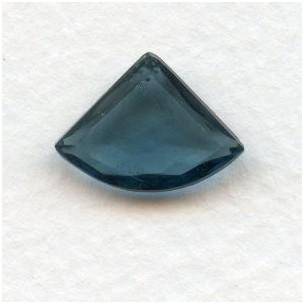 Montana Blue Bohemian Glass Fan Shape Stones 18x13mm (2)