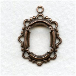 Delicate Openwork Settings 14x10mm Oxidized Copper