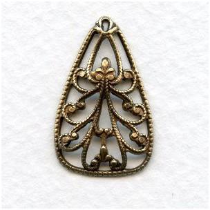 Ornate Filigree Pendant Oxidized Brass 25mm (6)