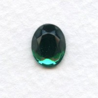 Emerald Glass Flat Back Stone 10x8mm Faceted Top (4)