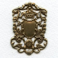 Crown and Cherub Royal Plaque Oxidized Brass 51mm