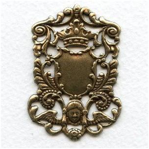 Crown and Cherub Royal Plaque Oxidized Brass 51mm