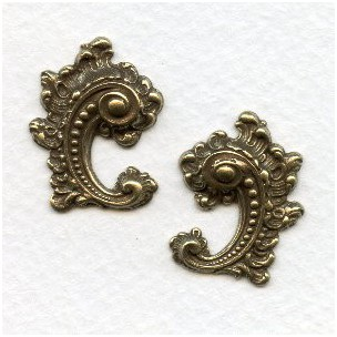 Victorian Details Right Left Flourishes Oxidized Brass