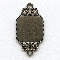 Sturdy Connector 20mm Plaque Oxidized Silver