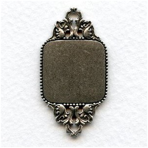 Sturdy Connector 20mm Plaque Oxidized Silver (1)