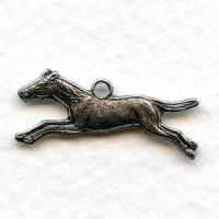^Galloping Horse with Loop Oxidized Silver 20mm