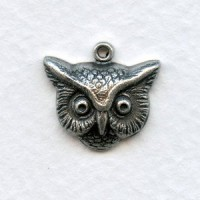 Owl Head Charms Oxidized Silver 16mm (3)