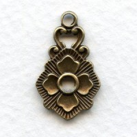 Floral Detail Pendants Oxidized Brass Solid