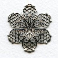 Dapt Filigree Flower Oxidized Silver 35mm