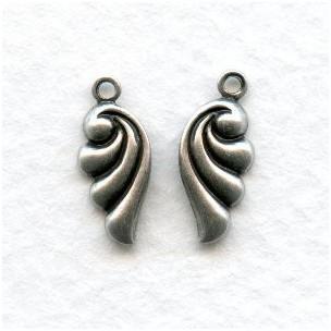 Art Nouveau R & L Scallop Pendants Oxidized Silver
