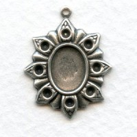Flower Settings 10x8mm and Rhinestones Oxidized Silver