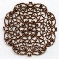 Ornate Flat 62mm Filigree Oxidized Copper (1)