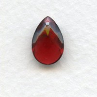 Briolette Ruby 13x8.5mm Pear Shape Glass Pendant