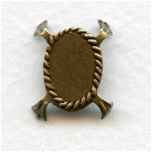 Turtle Style Settings 18x13mm Stones Oxidized Brass (12)