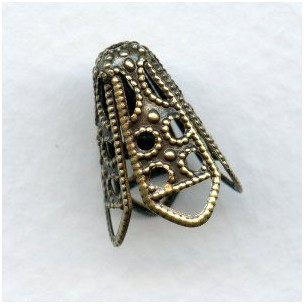 Filigree Cone Bead Caps 12mm Oxidized Brass (12)