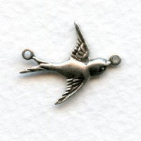 Flying East Bird Connectors Oxidized Silver