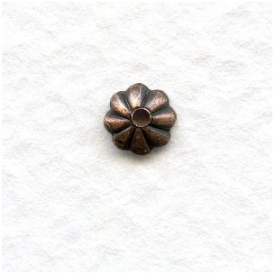 Fluted Bead Caps Oxidized Copper 5mm