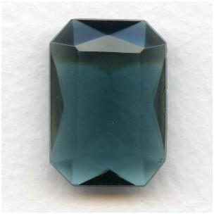 ^Montana Blue Glass Octagon Unfoiled 25x18mm