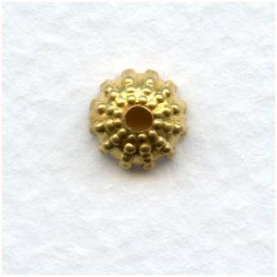Beaded Detail Bead Caps 8mm Raw Brass (24)