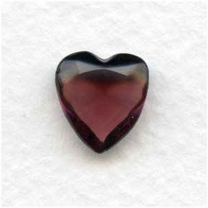 Amethyst Glass Heart-Shape Stones Unfoiled 12x11mm