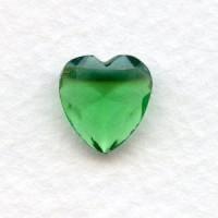 Peridot Glass Heart-Shape Stones Unfoiled 12x11mm