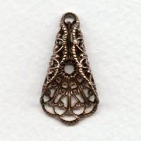 Filigree Ornate Fan Fold 29x15mm Oxidized Copper (4)