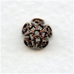 Victorian Style Filigree Bead Caps Oxidized Copper 8mm (12)
