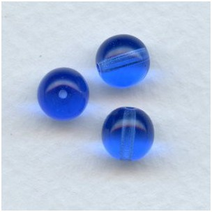 Smooth European Glass Druk Beads Sapphire 8mm