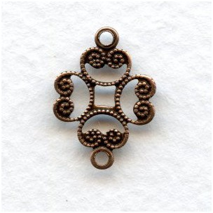 Filigree Connectors Oxidized Copper 17mm