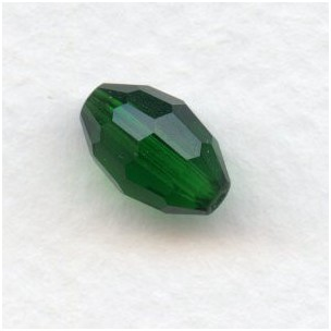 Emerald Oval Faceted Glass Beads 11x8mm