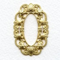 Filigree Oval 44x30mm Frames Raw Brass