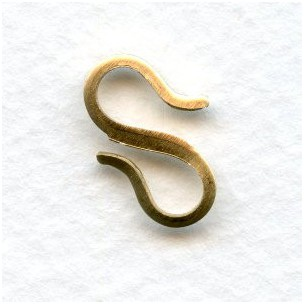 Flat S Hooks Smooth Raw Brass 17mm (6)