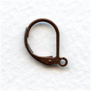Lever Back Earring Finding with Loop Oxidized Copper (24)