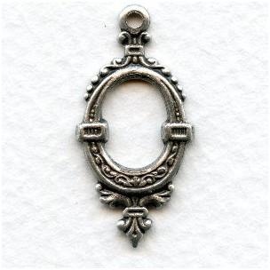 Oval Fancy Hoop Pendant Drop Oxidized Silver 31mm (6)
