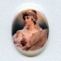 ^Rare Vintage Porcelain Cabochon 40x30mm Lonely Maiden