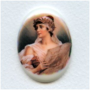 ^Rare Vintage Porcelain Cabochon 40x30mm Lonely Maiden