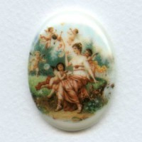 ^Rare Vintage Porcelain Cabochon 40x30mm Cherubs and Maiden