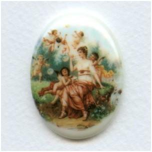 ^Rare Vintage Porcelain Cabochon 40x30mm Cherubs and Maiden