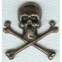 ^Skull and Crossbones 21mm Oxidized Copper (6)