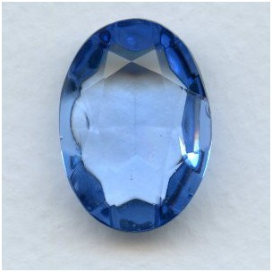 Light Sapphire Glass Oval Unfoiled Stone 25x18mm