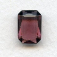 ^Amethyst Bohemian Glass Octagons Unfoiled 14x10mm