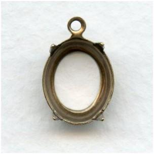 ^Open Back Settings 12x10mm Oxidized Brass (12)