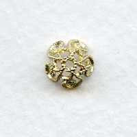 Victorian Style Filigree Bead Caps Raw Brass (12)