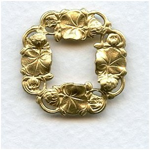 Floral Framework Stampings 25mm Raw Brass (6)