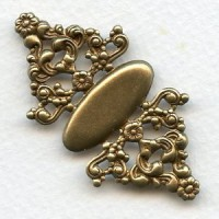 Floral Detail Setting Stamping or Wrap Oxidized Brass