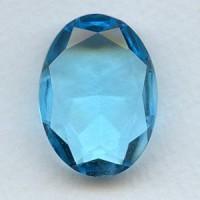 Aqua Glass Oval Unfoiled Jewelry Stone 30x22mm