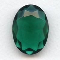 Emerald Glass Unfoiled Jewelry Stone Oval 30x22mm
