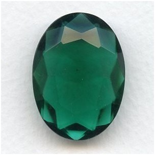 ^Emerald Glass Unfoiled Jewelry Stone Oval 30x22mm