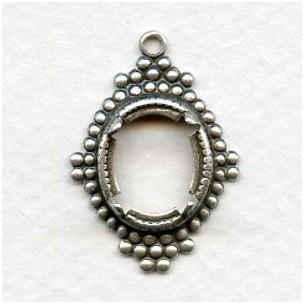 Ancient Design Edge 12x10mm Settings Oxidized Silver